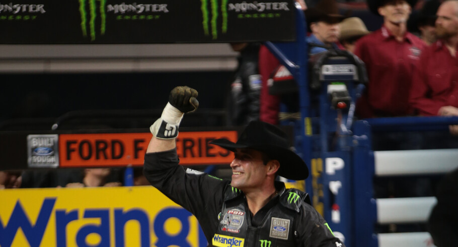 Guilherme Marchi rides Hadley Cattle Co.'s Rebel Yell for 87.5 during the first round of the Iron Cowboy, Built Ford Tough series PBR in Arlington, TX