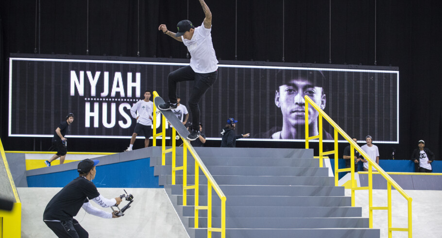 Nyjah Huston competing at the 2016 Street League Series in Newark, New Jersey