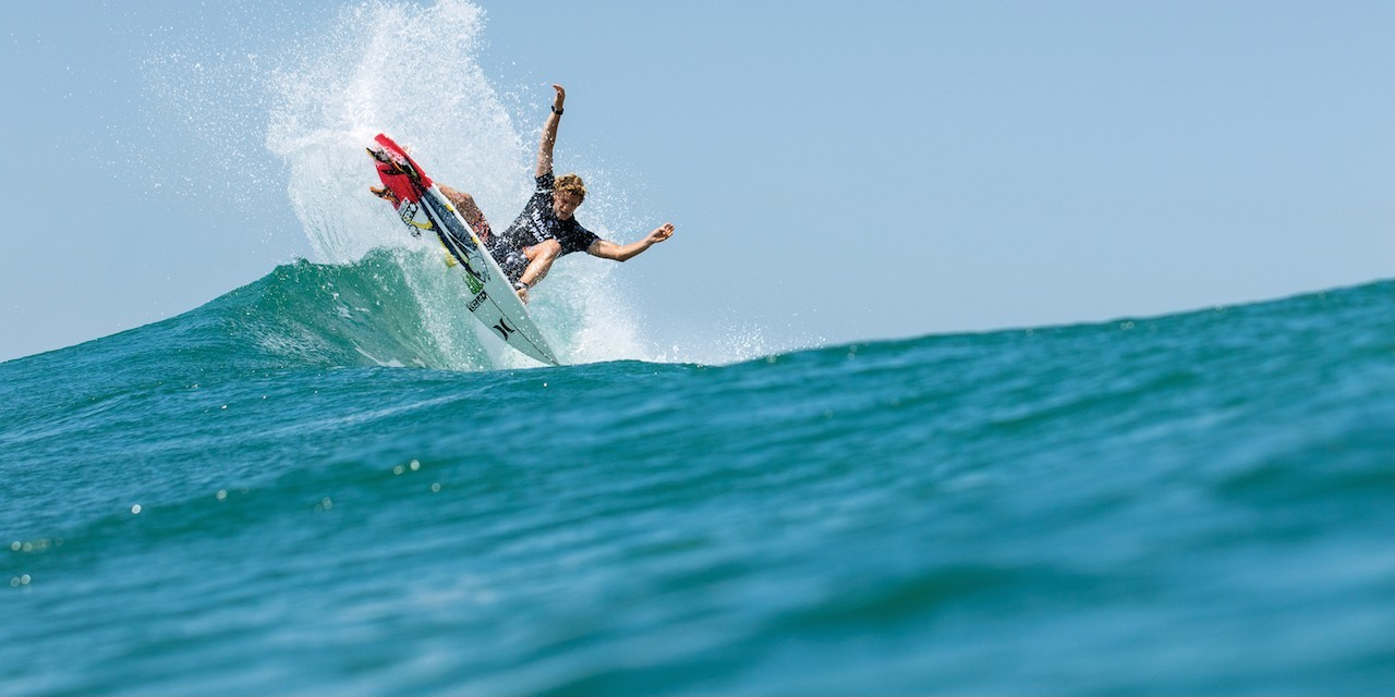 Monster Energy sponsored athlete John John Florence at the Hurley Lowers Surf Competition in Trestles, California.