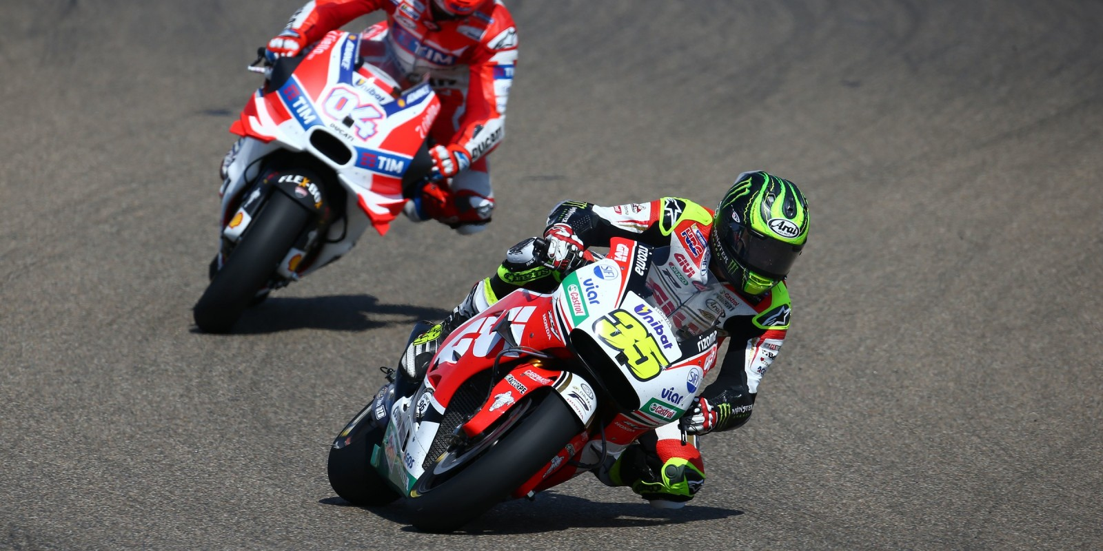 Monster athletes compete in the 2016 MotoGP season for race 1 in Aragon, Spain
