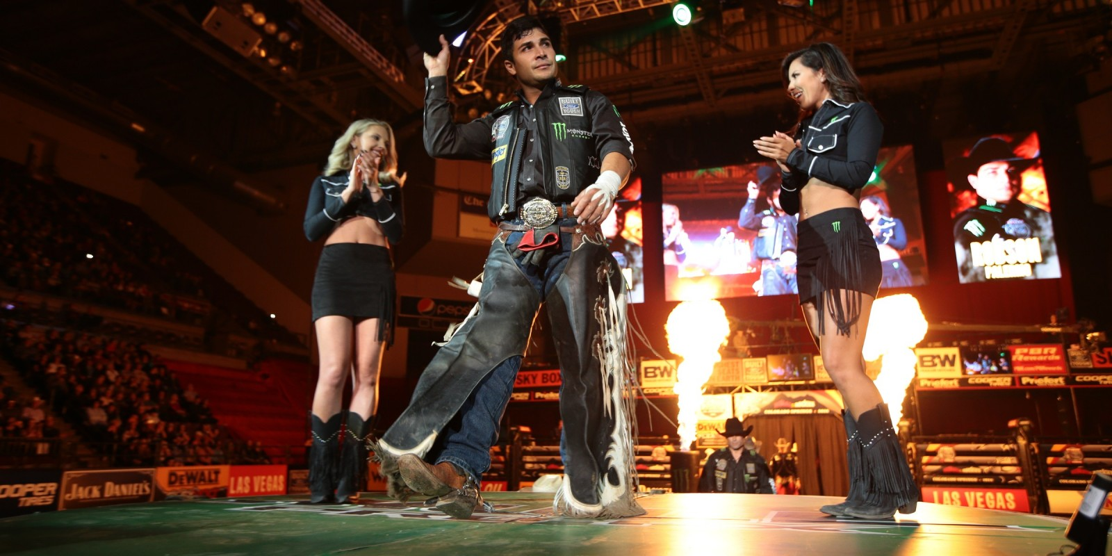 Robson Palermo in the opening during the first round of the Colorado Springs Built Ford Tough Series PBR