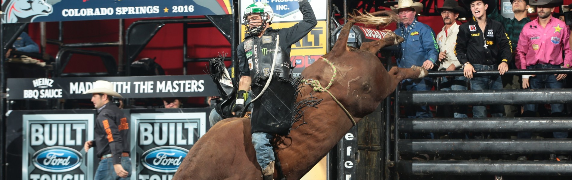 Gage Gay attempts to ride JD Nix Rodeo Co.'s Uh Oh during the second round of the Colorado Springs Built Ford Tough Series PBR
