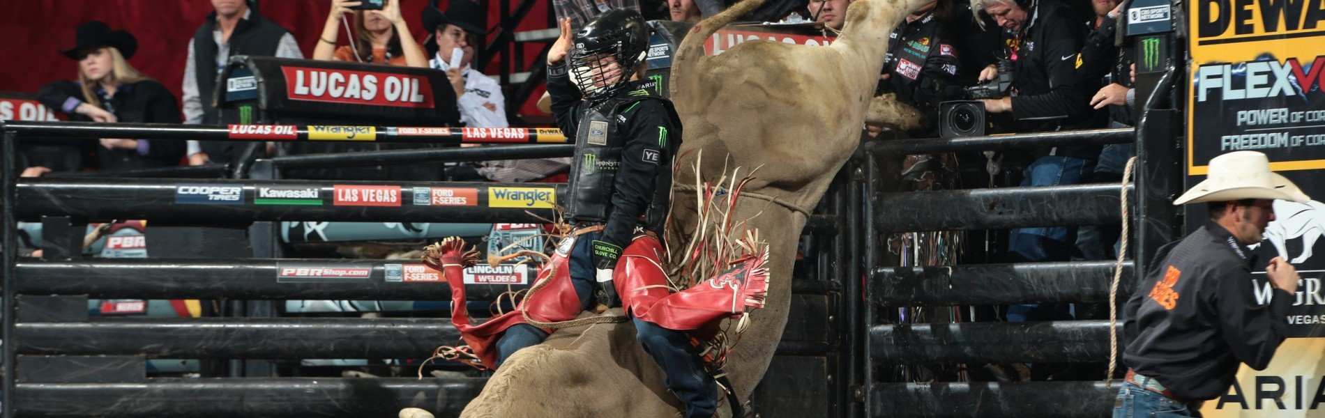 Derek Kolbaba attempts to ride Talbert Bucking Bulls's Caribou Lou during the first round of the Colorado Springs Built Ford Tough Series PBR