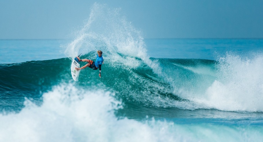 John John Florence competes in the 2015 Quiksilver Pro surf comp.