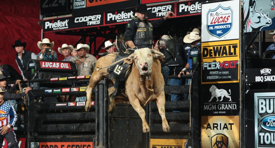 Guilherme Marchi attempts to ride Bierema Rodeo Inc.'s Big Kahuna during the first round of the Colorado Springs Built Ford Tough Series PBR