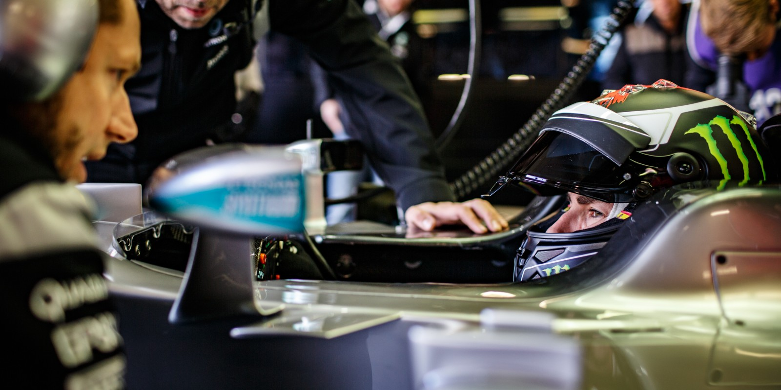 Images of Jorge Lorenzo testing the MERCEDES AMG PETRONAS Formula One F1 W05 at Silverstone