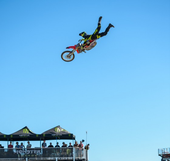 Monster athletes compete for the $100,000 pot in the FMX High Rollers Contest during Monster Cup at the Sam Boyd Stadium in Las Vegas, Nevada