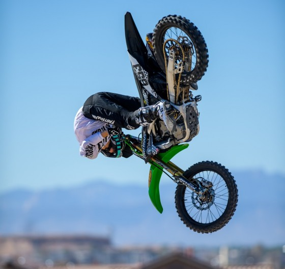 Tyler Bereman competing for the $100,000 pot in the FMX High Rollers Contest during Monster Cup at the Sam Boyd Stadium in Las Vegas, Nevada