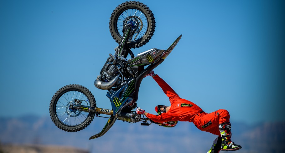 Taka HIgashino places 1st at the FMX High Rollers contest at the 2016 Monster Cup in Sam Boyd Stadium, Las Vegas, Nevada