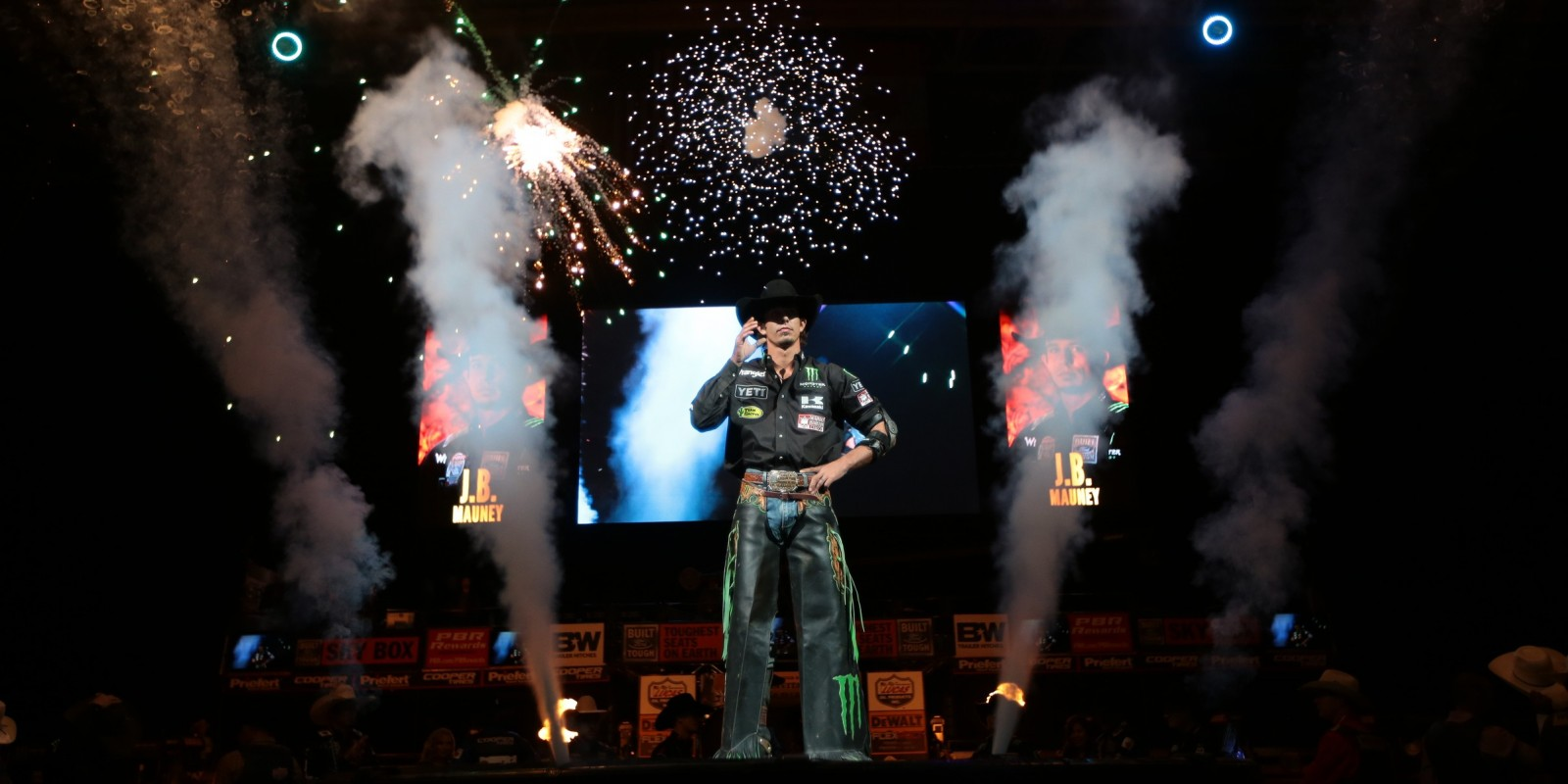 JB Mauney in the opening during the second round of the San Jose Built Ford Tough series PBR