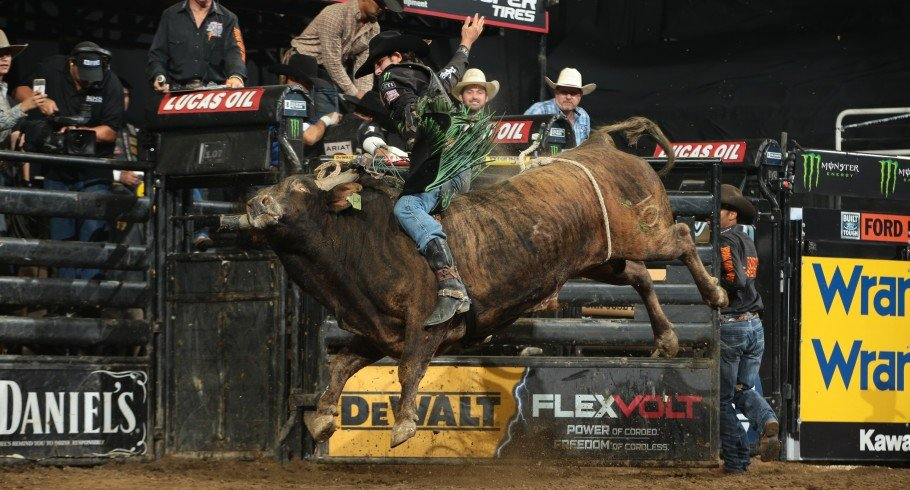JB Mauney rides Tugger X Bucking Bulls/LL Cool J's LL Cool J for 82.75 during the second round of the San Jose Built Ford Tough series PBR