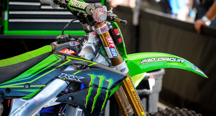 Monster MX riders compete in the 2016 Pro Motocross Championship season at the Thunder Valley National in Lakewood, Colorado.