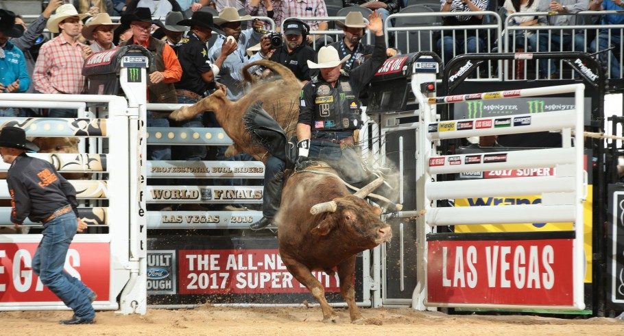 Guilherme Marchi rides J.A.R.S Bucking Bulls/Gene Owen's Little Red Jacket for 87.25 during the third round of the Built Ford Tough series PBR World Finals