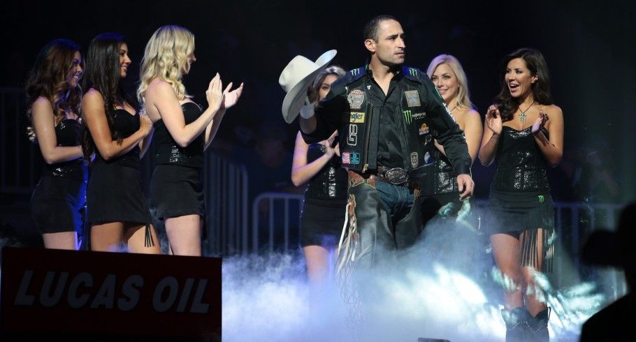 Guilherme Marchi in the opening during the fifth round of the Built Ford Tough series PBR World Finals.