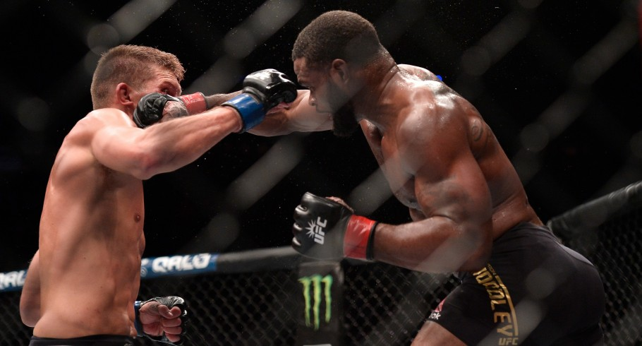 Tyron Woodley and Stephen Thompson in their UFC welterweight championship bout during the UFC 205 event at Madison Square Garden on November 12, 2016 in New York City