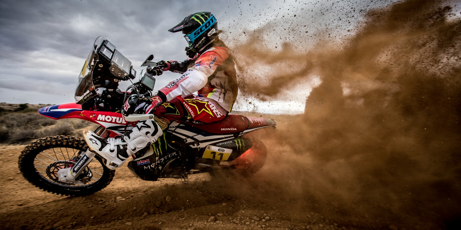 Joan Barreda riding for Monster Energy Honda Team