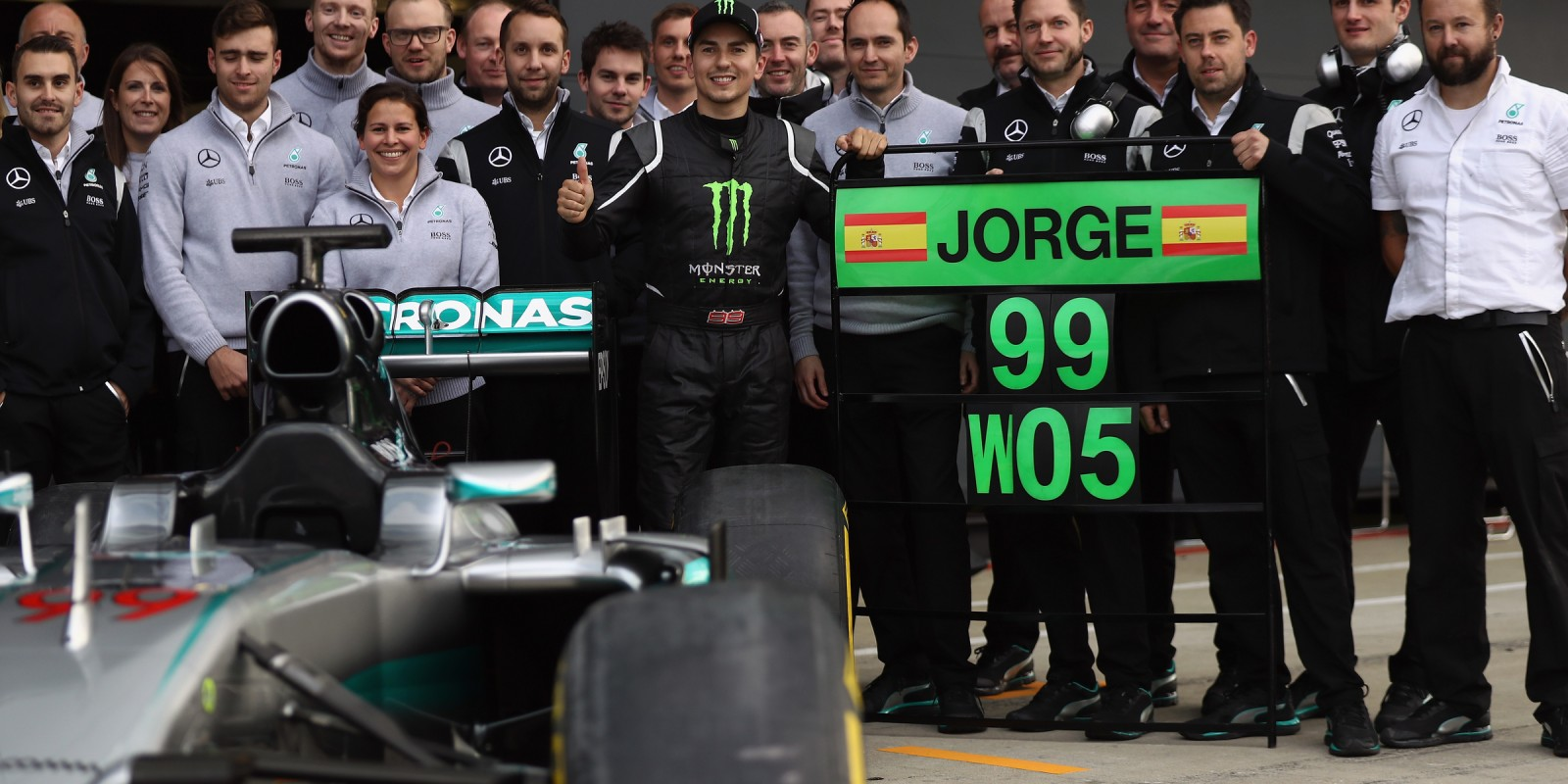 Getty images from Jorge Lorenzo's drive in the MERCEDES AMG PETRONAS Formula One Team W05 Hybrid