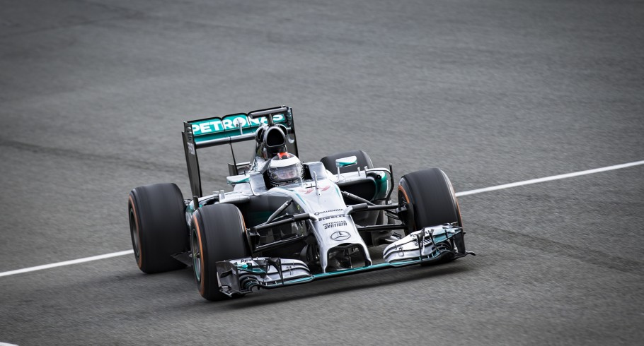 Images of Jorge Lorenzo driving the Mercedes F1 W05 Hybrid at Silverstone