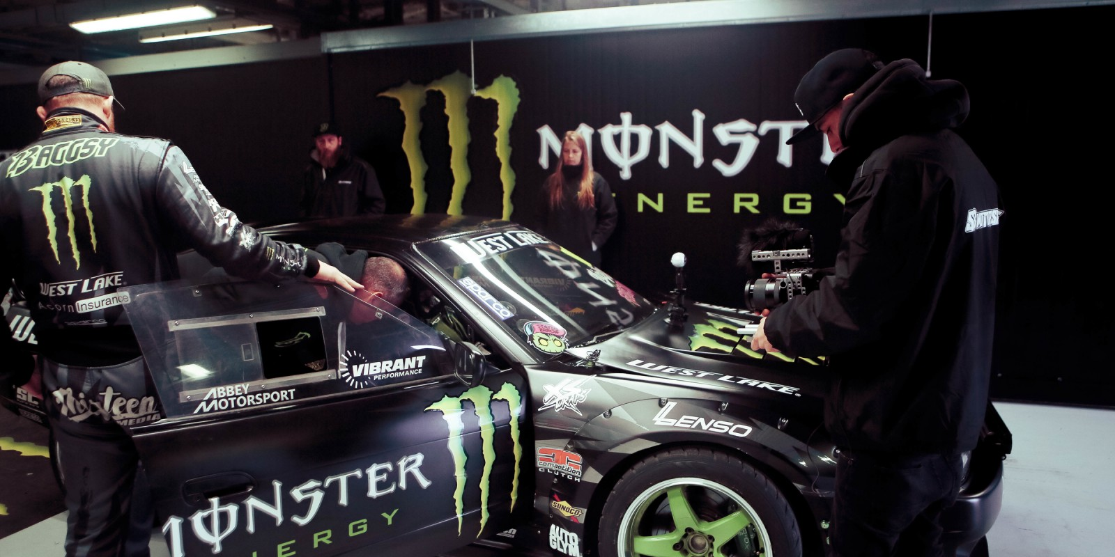 Pictures of Baggsy and his team inside the box at Monza Rally Show