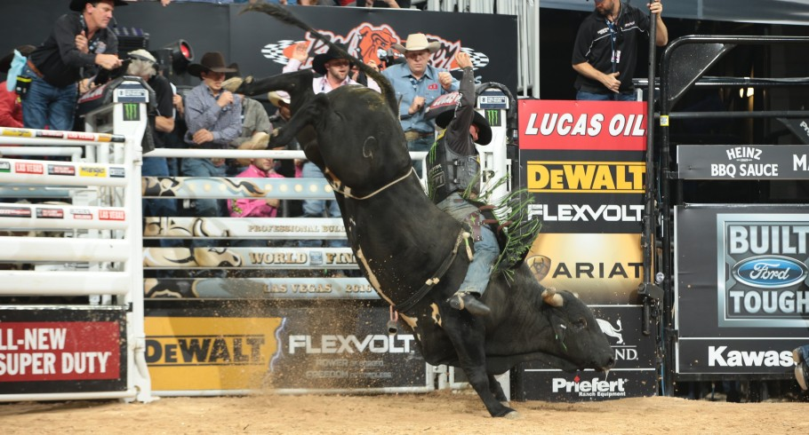 Chase Outlaw rides Bailey Pro Rodeo's Cougar for 87.25 during the fourth round of the Built Ford Tough series PBR World Finals