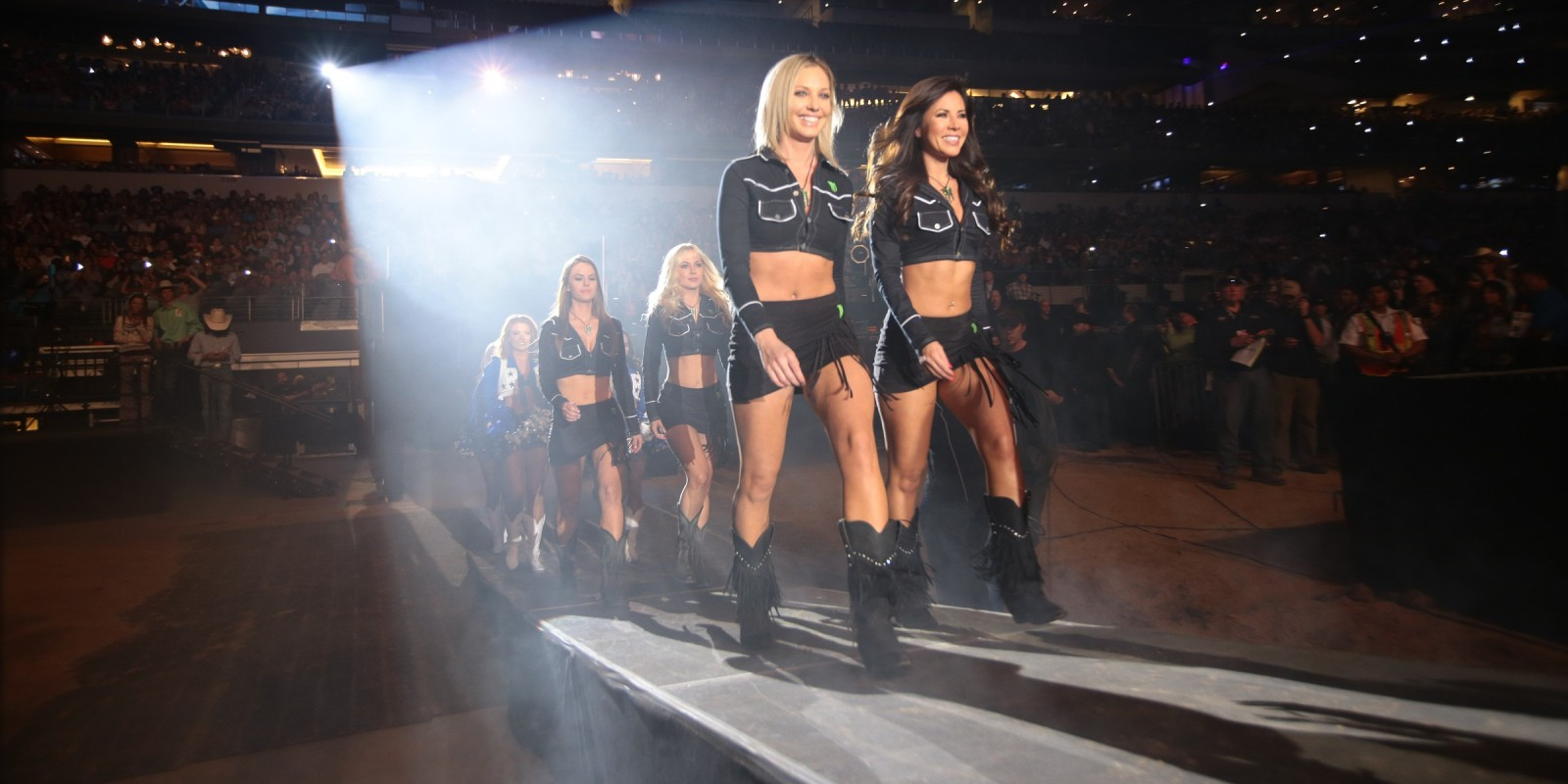 Monster Girls in the opening during the first round of the Iron Cowboy, Built Ford Tough series PBR