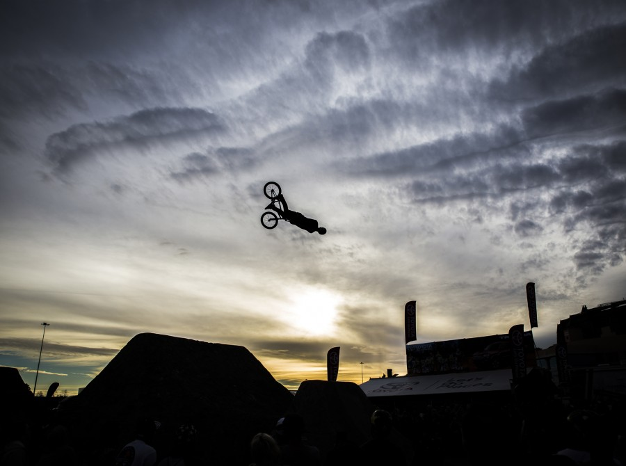 Monster athletes compete in the first challenge in the BMX Triple Challenge for the opening Supercross season in Anaheim, California