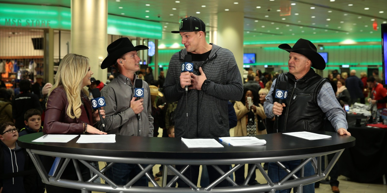 Kate Harrison, Justin McBride, Cody Lambert, Rob Gronkowski, at the CBSSN Pre-Show during the New York City Built Ford Tough series PBR