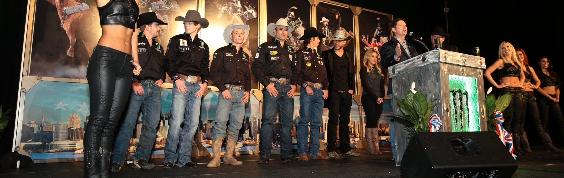 Derek Kolbaba, Gage Gay, Guilherme Marchi, JB Mauney, Chase Outlaw Mitch Covington at the Monster Garden Party during the New York City Built Ford Tough series PBR