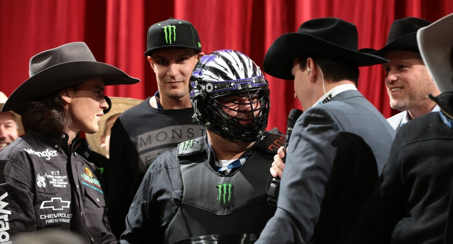 Rob Gronkowski and his friend Goon during the second round of the New York City Built Ford Tough series PBR