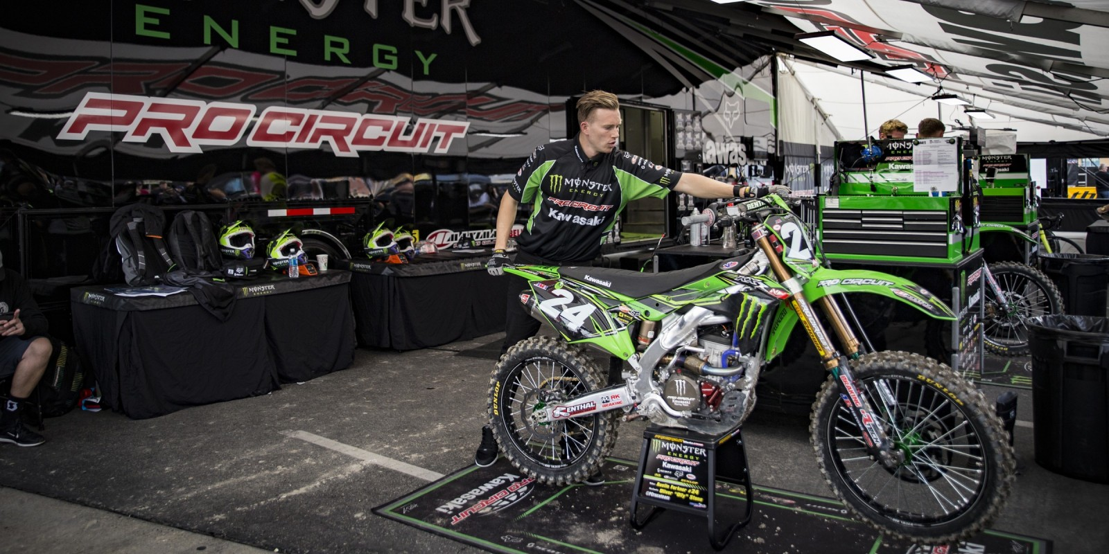 Monster Pro Circuit pits at the 2017 AMA Supercross opening at Anaheim Stop 1