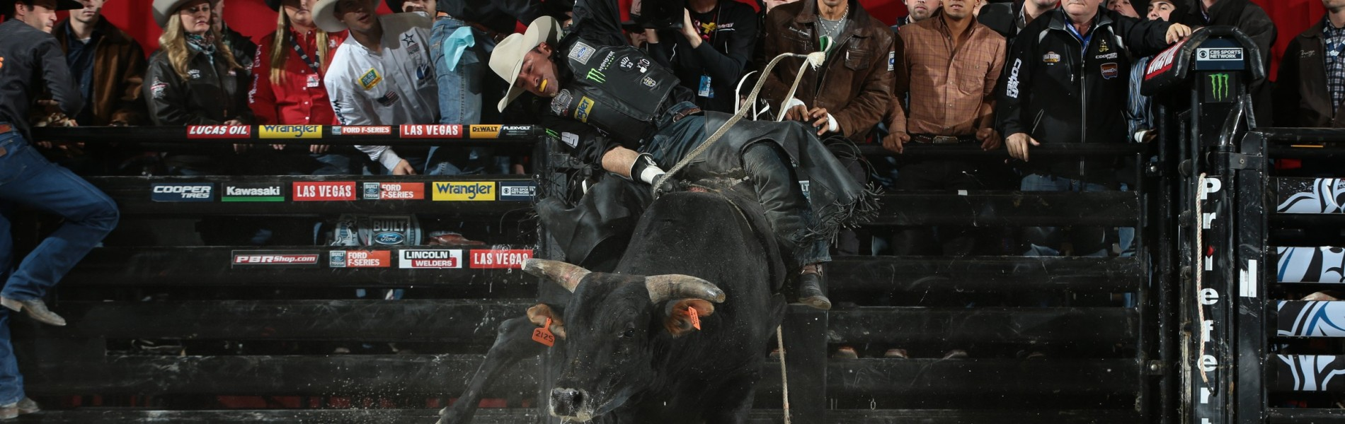 Guilherme Marchi attempts to ride Mike Miller Bucking Bulls's Pneu-Dart's Southern Style during the 15/15 Bucking Battle round of the Chicago Built Ford Tough series PBR