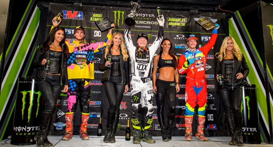 Justin Hill, winner of the 250 Race, at the 2017 Supercross in Anaheim, California Stop 2