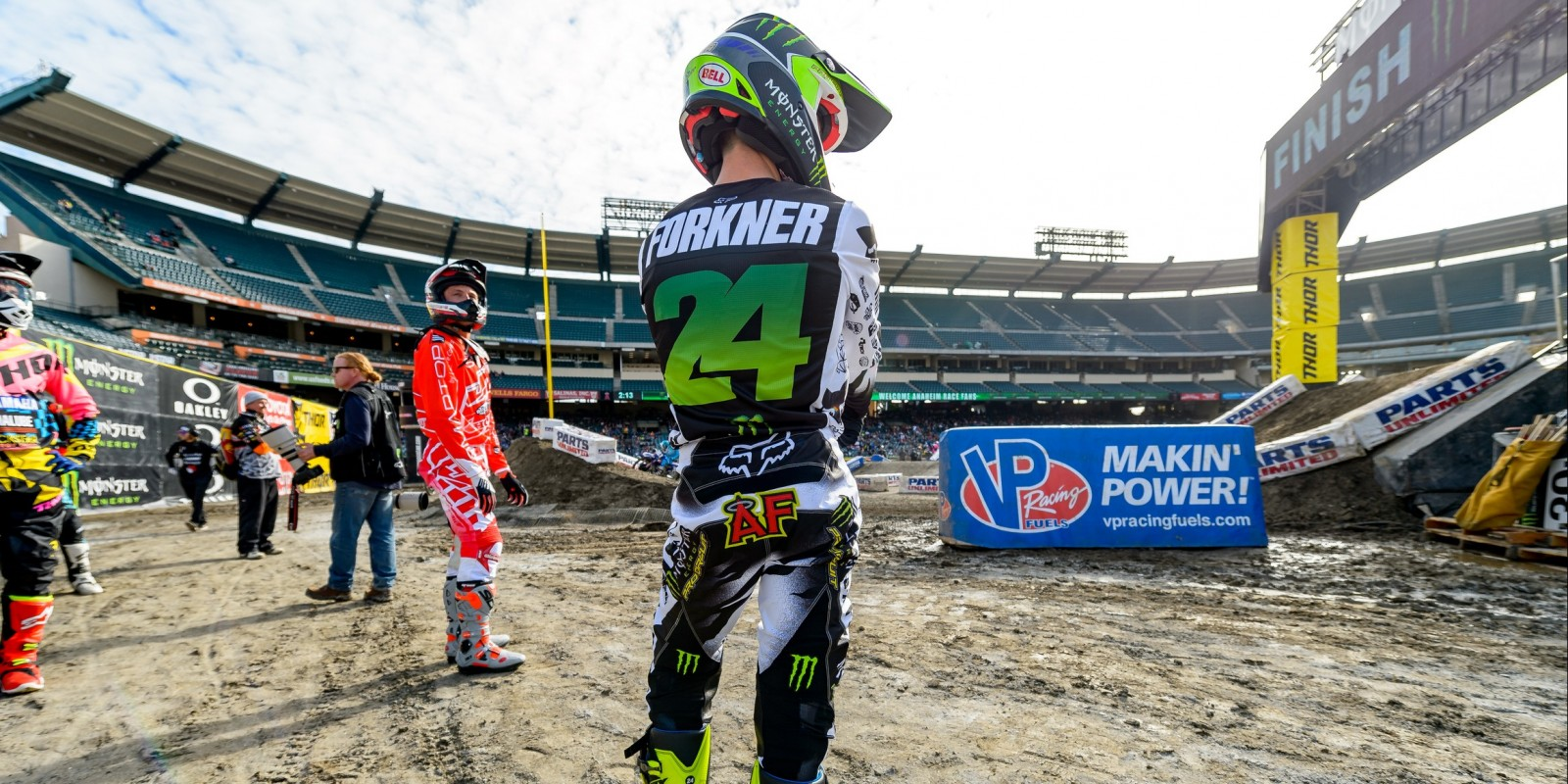 Monster athletes during the qualifying race at the 2017 Supercross in Anaheim, California Stop 2