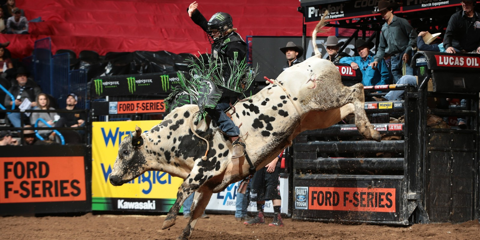 Derek Kolbaba rides JK Elite/Young Bird/Cord McCoy's JJ for 85.5 during the first round of the Oklahoma City Built Ford Tough series PBR