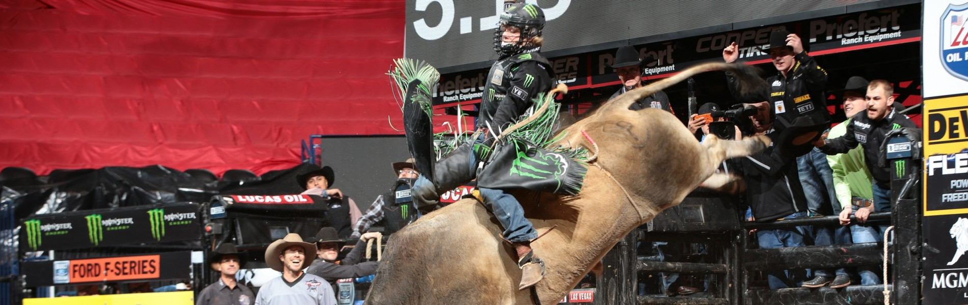 Derek Kolbaba rides D&H Cattle Co./Buck Cattle Co.'s SweetPro's Bruiser for 92 during the championship round of the Oklahoma City Built Ford Tough series PBR