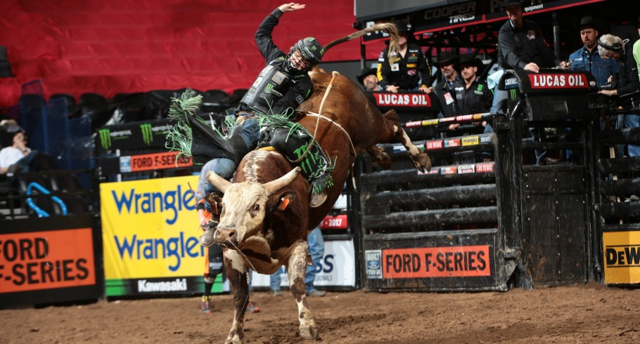 Derek Kolbaba rides Dakota Rodeo/Chad Berger/Clay Struve/H&C Bucking Bulls's Red Moon for 80.75 during the second round of the Oklahoma City Built Ford Tough series PBR