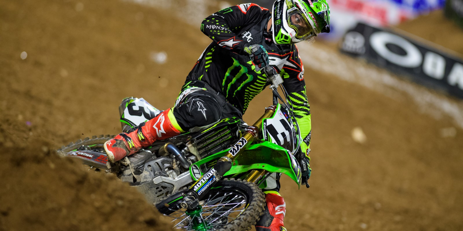 Monster athletes compete at the 2017 Supercross in Glendale, California