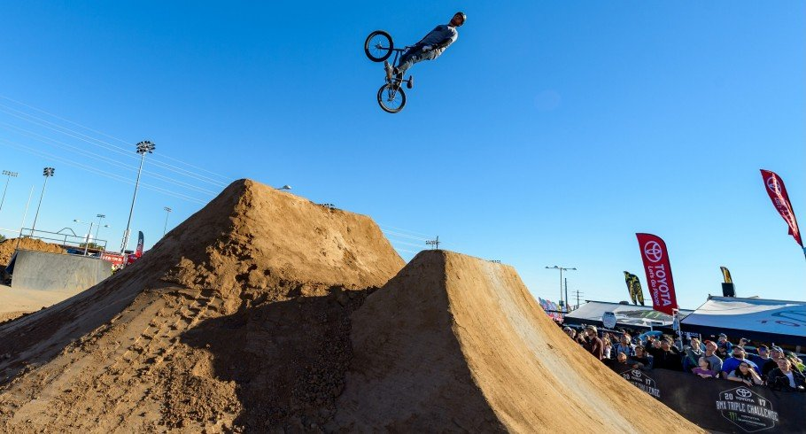 Monster Army athlete Ryan Fox competing in the BMX Triple Challenge in Glendale, Arizona