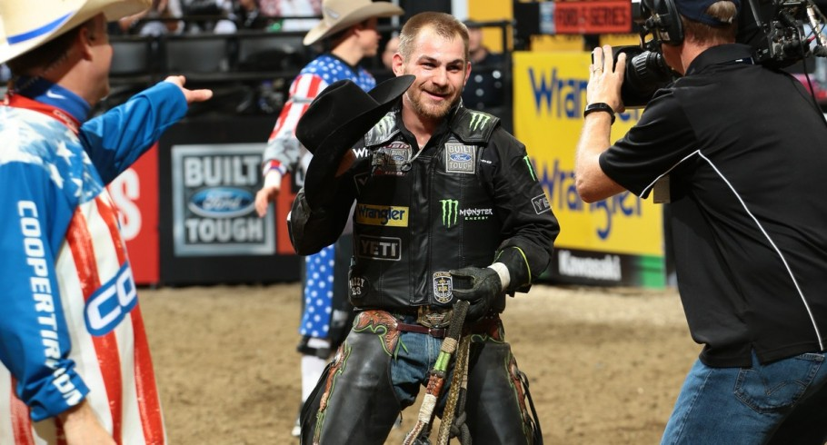 Chase Outlaw rides Dakota Rodeo/Struve/Berger/Heald's Big Cat for 87 during the 15/15 Bucking Battle round of the Sacramento Built Ford Tough series PBR