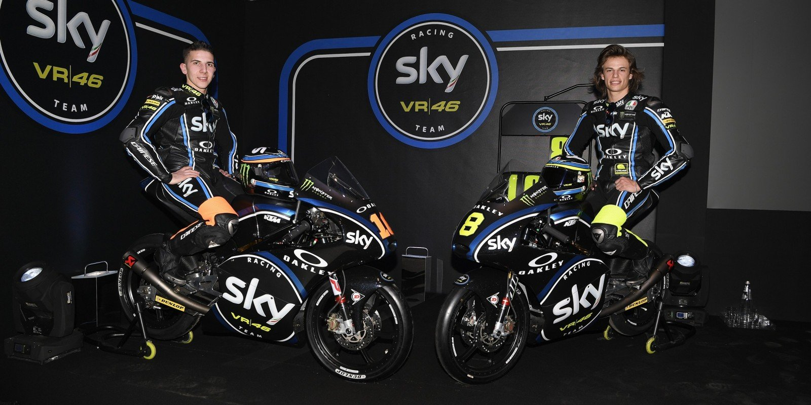 Migno and Bulega at the 2017 Sky Racing Team VR46 launch in Milan