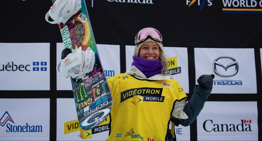 Jamie Anderson takes second in Womens Snowbaord Slopestyle at the FIS World Cup in Quebec.