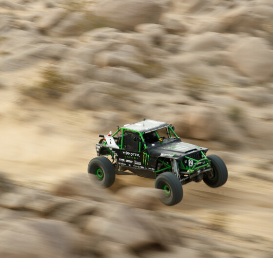Athletes during the main race of the 2017 King of the Hammers in Johnson Valley, CA