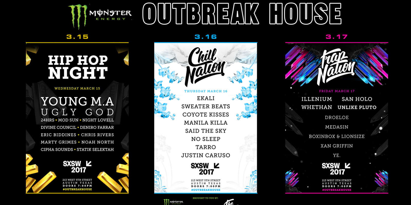 announcement flyers for SXSW outbreak house announcement