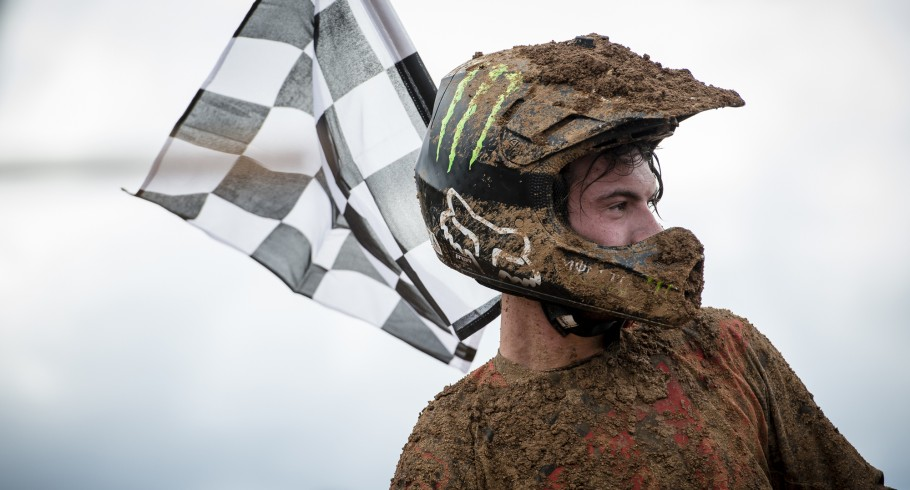 Panagiotis Kouzis at the First Race of the 2015 Motocross Race in Chalkida Track, Athens, Greece