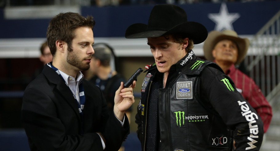 Justin Felisko interviews Reese Cates during the Iron Cowboy Built Ford Tough series PBR
