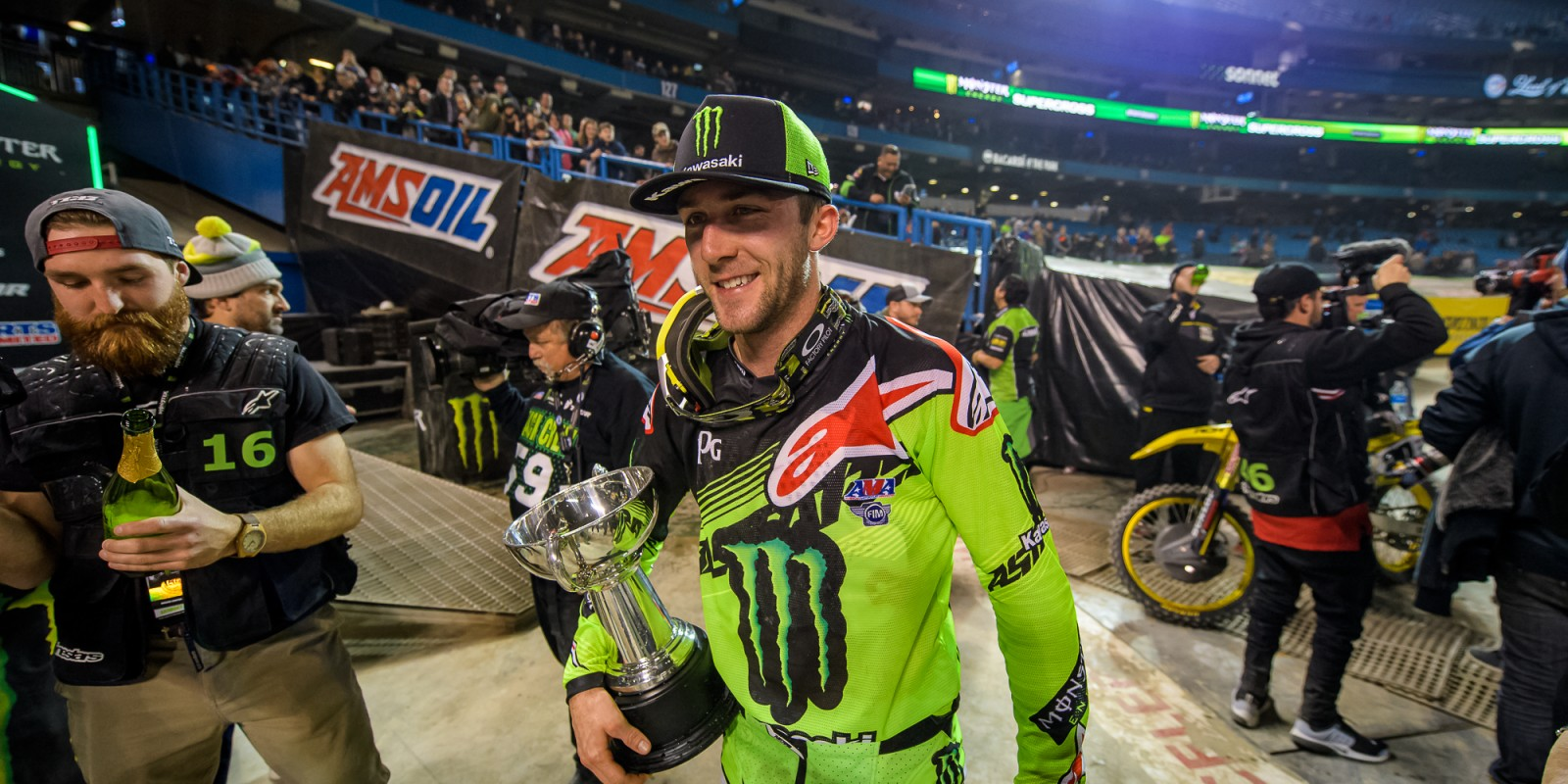 Monster riders at the 2017 Supercross in Toronto, Canada