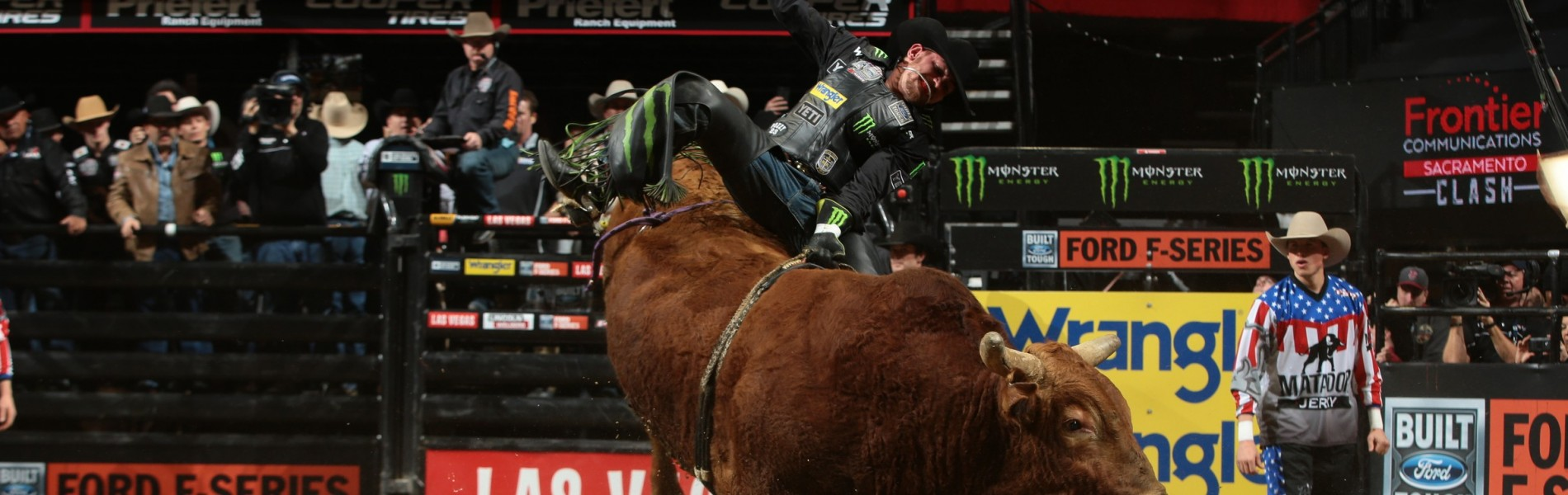 Chase Outlaw rides Julio Moreno Bucking Bulls's Mortimer for 87.5 during the second round of the Sacramento Built Ford Tough series PBR