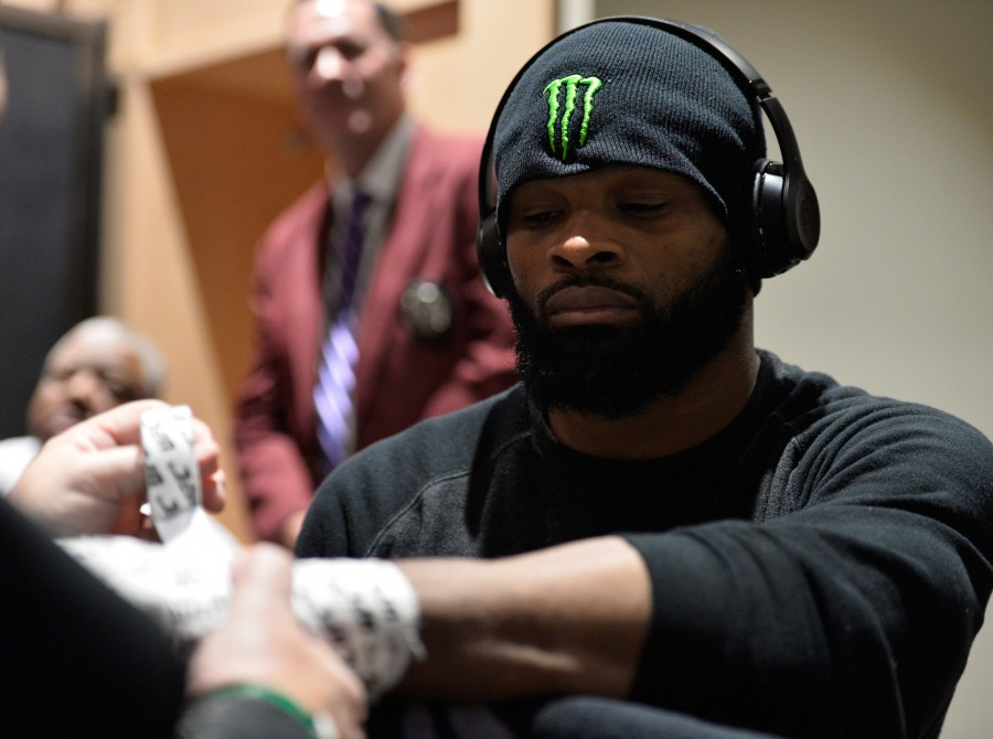 Tyron Woodley gets his hands wrapped backstage during the UFC 209 event at T-Mobile arena on March 4, 2017 in Las Vegas, Nevada.