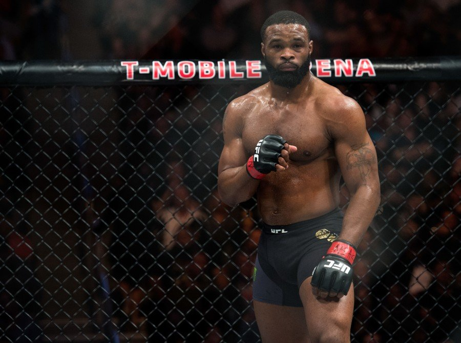 Tyron Woodley prepares for the second round to begin while facing Stephen Thompson in their welterweight championship bout during the UFC 209 event at T-Mobile arena on March 4, 2017 in Las Vegas, Nevada.