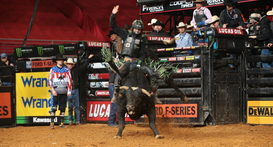 Derek Kolbaba rides Gene Owen Bucking Bulls's Taboo for 84.5 during the second round of the Little Rock Built Ford Tough series PBR
